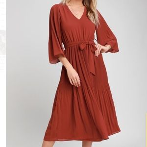 NWT Lulus Flirty and Thriving Rust Red Midi Dress